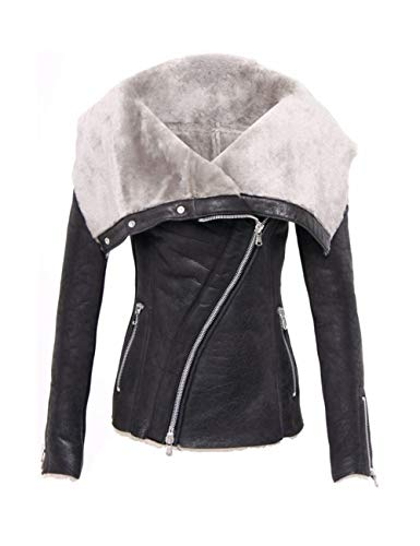 Zip-front-strickjacke (BESBOMIG Damen Plus Samt Leder Mantel Asymmetrie Wildleder Moto Biker Jacke - Zip Fuzzy Strickjacke Motorrad Wasserdicht Jacken Stehkragen Tops)