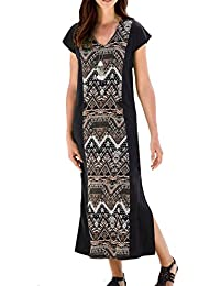 TopsandDresses Ladies Stretchy Long Calf Length Maxi Dress With Slimming Geometric Panel In UK Women's Sizes 8 up To Plus Size 38
