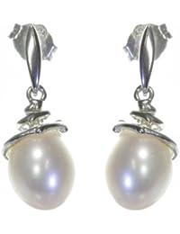 Klassische 925 Sterling Silber Süßwasser-Perlen Damen - Paar Ohrringe 8.0mm