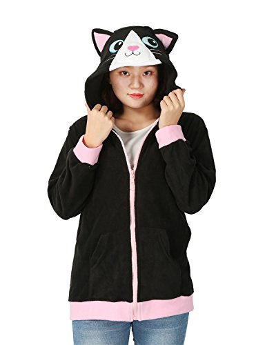 Très Chic Mailanda Damen Cartoon Sweatshirt Hoodies Zip Jacket Outwear Fleece Jacket Coat Kapuzenjacke mit Ohren (S, Katze) (Schule Konzert Kostüme)