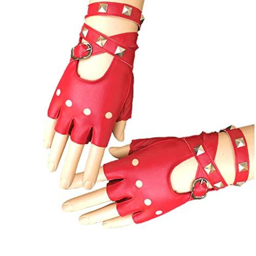 Frauen Punk Nieten Gürtel Up Half Finger PU-Leder-Performance Handschuhe Partei Handschuhe Punk Rock Kostüm Zubehör