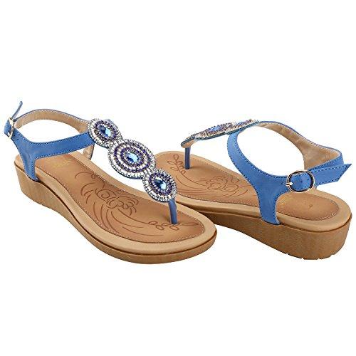 Alexis Leroy T-Sange Damen Zehentrenner Sandalen mit Keilabsatz Blau 37 EU AsBdGA9N