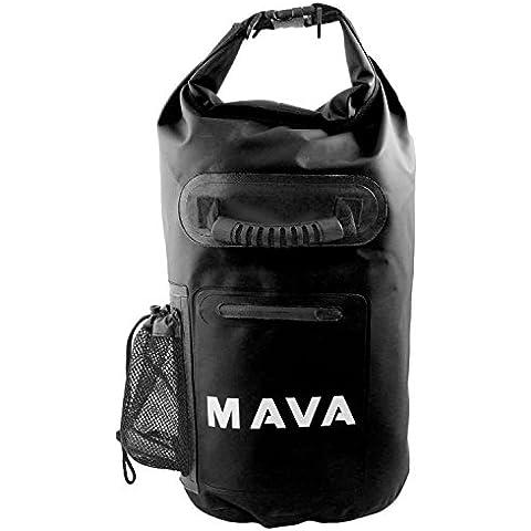 Mava Sport impermeabile borsa con tasca custodia e tracolla per barca, trekking, Rafting, campeggio, pesca, snowboard, Spiaggia e sport acquatici, unisex, Black, 15 L
