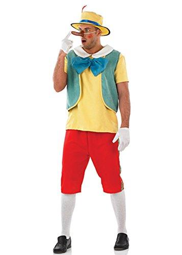 Outfit Kostüm Puppet (Erwachsene Mens Pinocchio Marionette Kostüm XL (111,8–116,8cm)