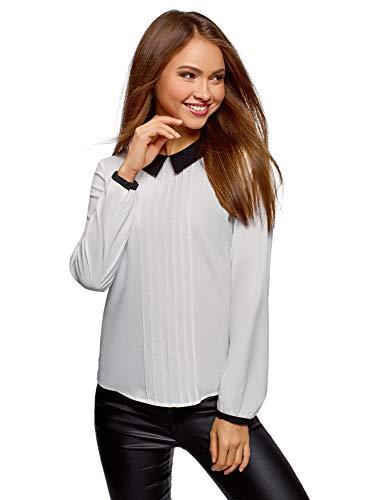 oodji Ultra Mujer Blusa de Tejido Fluido con Cuello en Contraste, Blanco, ES 34 / XXS