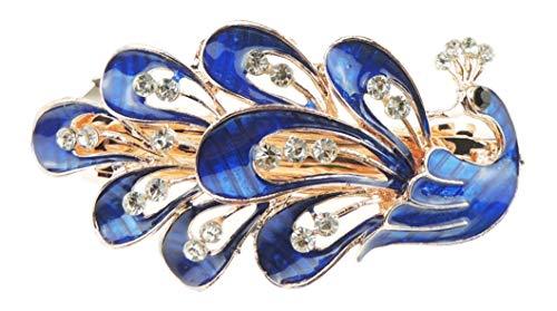 Vintage Gold Tone Chunky Metall 8cm Haarspange Abendklaue Klaue Klaue Pfau in 6 Farben ()