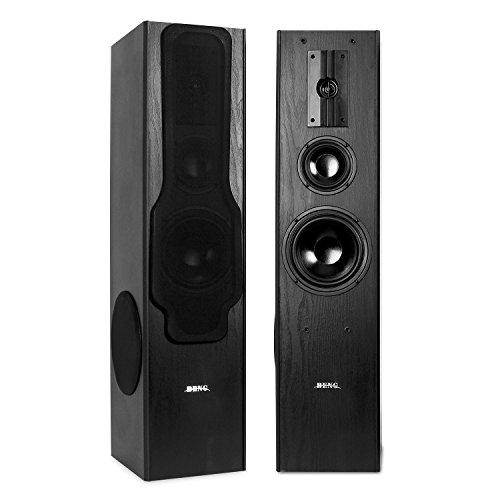 Beng E1005 • Standlautsprecher Set • 3-Wege HiFi Boxen-Paar • 2 x Lautsprecher • 2 x 180W Sinusleistung • 20Hz-20kHz Frequenzbereich • massives, vibrationsarmes Chassis in Bassreflex • schwarz