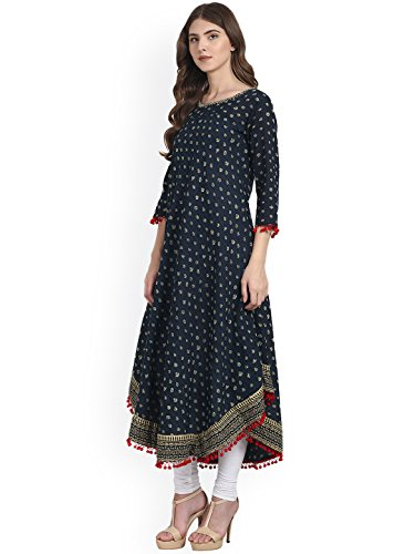 Amayra Womens Cotton Blue Printed Anarkali Kurti(X-Large,Blue)