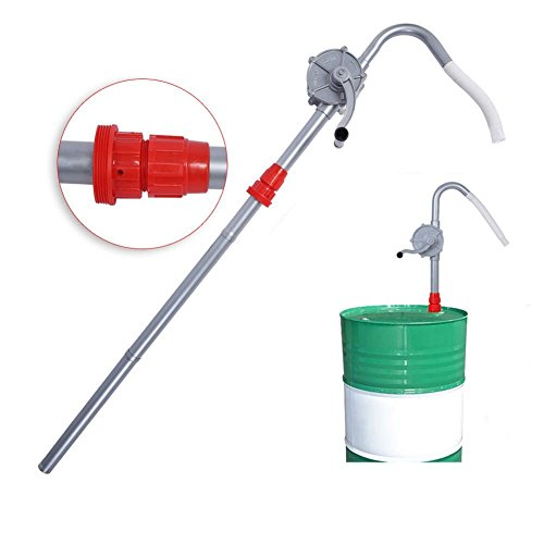 GOTOTOP Pompa Travaso Liquidi Rotativa,Pompa a Tamburo Mano di Alluminio Rotativa Auto Pompa,Olio Barile Pompa Manuale,Pompa di Benzina Diesel Fuel Tool
