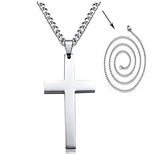 Yohong 316L Kreuzanhänger aus Edelstahl Halskette Ketten für Herren Damen Frauen, Nicht rostig, Nicht allergisch (Weiß)