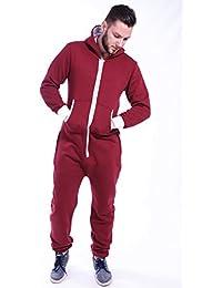 Newfacelook Hommes de couleur unie zippée à capuche Hoodie Jumpsuit salopette
