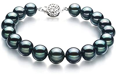 PearlsOnly - Black 8-9mm Japanese Akoya 925 Sterling Silver Cultured Pearl Bracelet