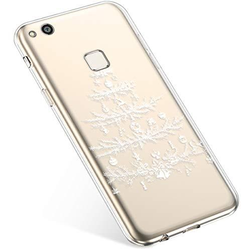 Uposao Handyhülle Huawei P10 Lite Schutzhülle Silikon Transpatente Hülle mit Weihnachten Muster Durchsichtige Handytasche Ultra Dünn Weich TPU Bumper Case Backcover,Weiß Baum