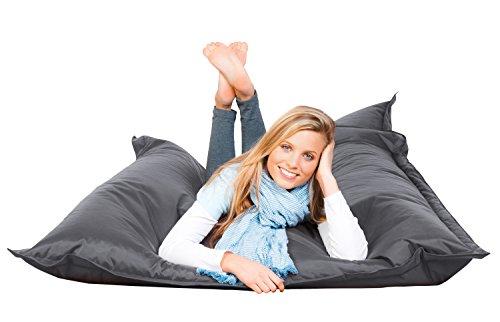 PROCAVE FETTI Sitzsack anthrazit in 140 x 180 cm mit Füllung | Riesensitzsack | Indoor | Outdoor | XXL Sitzsack | Riesenkissen | Sitzkissen