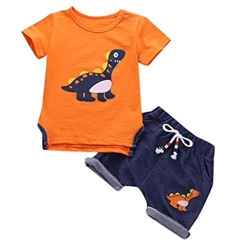 ung Set Kinder Baby Cartoon Dinosaurier Kurzarm + Shorts Zweiteilige Kindertagesgeschenk ()