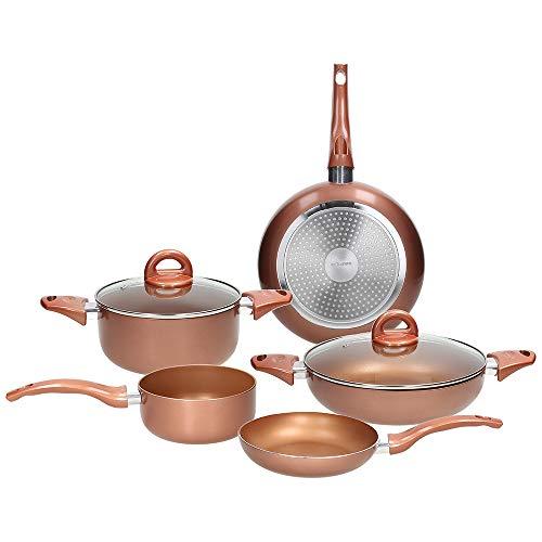 Tognana Copper & Charcoal Rame Batteria di pentole e padelle, Alluminio Stampato