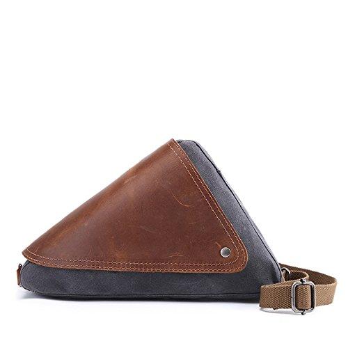 Mefly Uomini Casuale Della Mammella Caratteristiche Sacchetto Individuale Obliqui Di Spallamento Trasversale Travel Bag Sacchetto Impermeabile Caffè gray