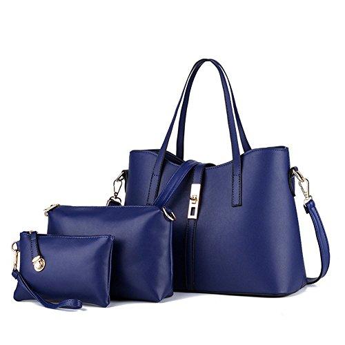 d9ca65efa9760 CoCogirls Damen Handtaschen Leder Kuriertasche Schultertasche Shopper  Umhängetasche Tote Bag Taschen Frauen Handtasche Blau