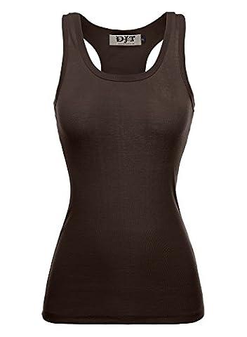 DJT Women Racer Back Ribbed Vest Tank Tops Stretch Plain Cotton Muscle Undershirt Tee T-Shirt Coffee
