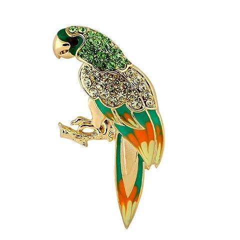 Yoursfs Modeschmuck Papagei Brosche 18K Vergoldete Österreichischem Kristall mit künstlichem Diamant