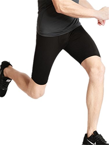 HYHAN serré sport fitness de formation courte section Shorts hommes courant étirement rapide pantalon sec de compression Black