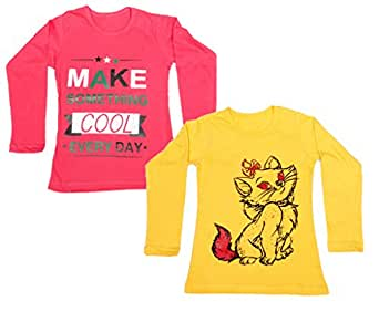 Indistar Girls Cotton Full Sleeve Printed T-Shirt (Pack of 2)_Yellow::Red_Size: 6-7 Year