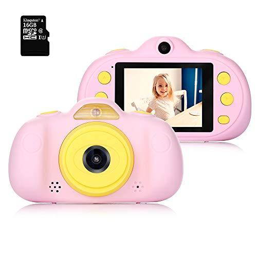 Fede Kinderkamera mit kostenloser 16GB TF-Karte,wiederaufladbare Selfie Kamera für Kinder, Kinder Digital-Camcorder mit 2,4 Zoll Bildschirm,HD 8MP/1080P Doppellinse, stoßfeste Kamera mit Silikonhülle -