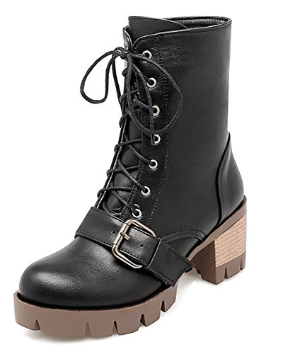 YE Damen Chunky high heel Plateau Stiefeletten mit Blockabsatz Schnürsenkel Ankle Boots 6cm Absatz Herbst Winter Schuhe Schwarz 6BWVUBI