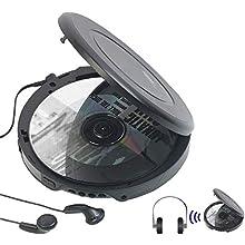 auvisio CD Spieler: Tragbarer CD-Player mit Ohrhörern, Bluetooth und Anti-Shock-Funktion (Portable CD Player)