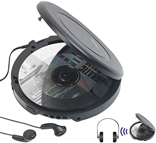 Tragbarer CD-Player mit Ohrhörern, Bluetooth und Anti-Shock-Funktion (CD MP3 Player) ()