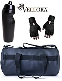 VELLORA Soft Leather Duffel Gym Bag (Black) With Penguin Sport Sipper, Gym Sipper Water Bottle And Black Color...