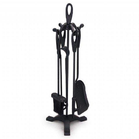 Wolds Collection Juego de Chimenea con atizador, recogedor, Pinzas y Cepillo, 5 Piezas de 70 cm, Color Negro