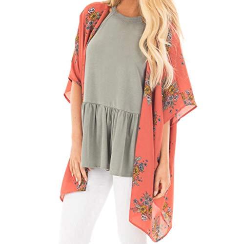 IMJONO Damen Lose Asymmetrisch Sweatshirt Pullover Bluse Oberteile Oversized Tops T-Shirt(EU-38/CN-L,Orange)