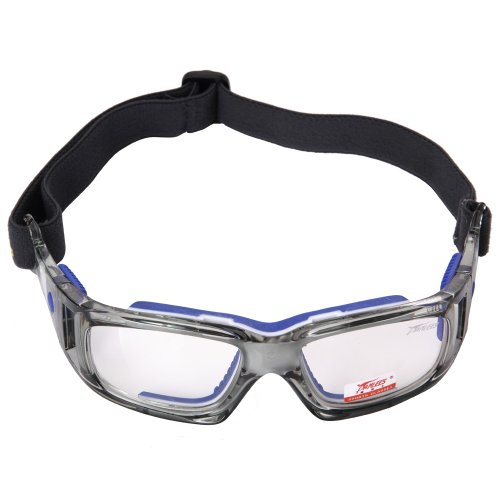 Occhiali sportivi, pellor adulti occhiali running occhiali antinfortunistica regolabile per occhiali da calcio amatori di basket tennis - blu
