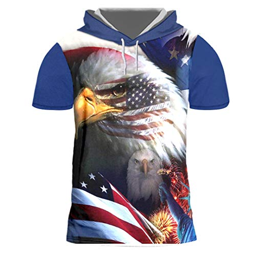 Herren Print American Flag Eagle 3D Kapuzen Kurzarm Hoodie Pullover American Flag Eagle S -