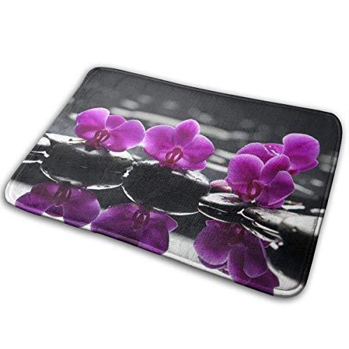 NI Alfombrillas de Flores de orquídeas moradas Alfombra de Piso Alfombra de Cocina 40x60 cm para Puerta...