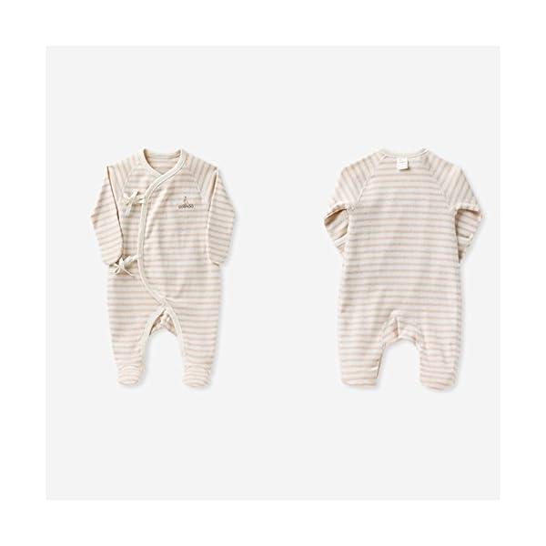 COBROO - Pijama para bebé de 0 a 6 meses con manoplas, estampado de nubes para bebé, con cierre de lazo, 100% algodón… 2