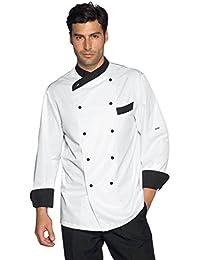 Isacco-Chaqueta de cocinero Giza, color blanco y negro