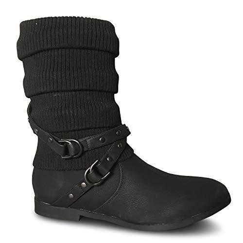 Damen Stiefeletten Strick Boots Stiefel gefüttert flach Herbst Winter ST2912 (38 EU, Schwarz warm gefüttert)