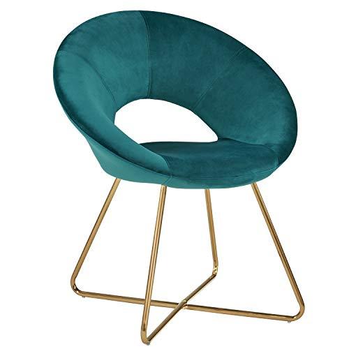Duhome Silla de Comedor de Tela (Terciopelo) Verde Azulado diseño Retro Silla tapizada Vintage sillón con Patas de Metallo seleccion de Color 439D