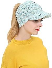 QinMM Mujer Sombreros de Orejeras Deportiva de Gorro de Punto y el Agujero  Ponytail Beanie para d21929821e0