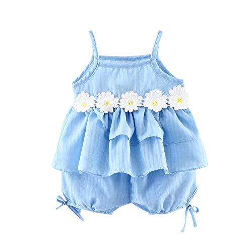 Bekleidung 3 Stück Kleinkind Baby T-Shirt+Shorts Kurze Hosen +Sonnenhut Kind Mädchen Outfits Kleider Blumen Weste Sommerkleidung Chiffon Strampler Spielanzug - Licht Blau Kleinkind-shirts