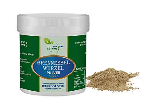 VITAIDEAL VEGAN® Brennessel-Wurzel 300g. inklusive Messlöffel, rein natürliches Pulver ohne Zusatzstoffe. -