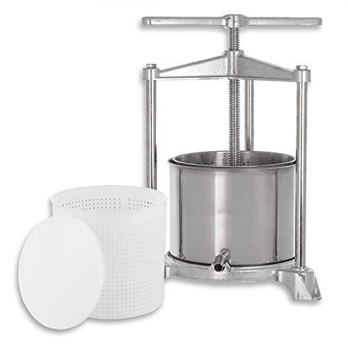 kaese-selber.de Presse à Fromage (INOX/Aluminium) + 1 200 g de Forme à Fromage avec Couvercle de Presse