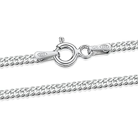 Amberta 925 Sterling Silver 2 mm Rhombus Curb Chain Necklace