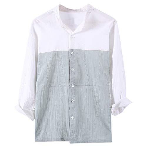 Feinny Individuelles Herren Oberteil T-Shirt Bluse Sale/Sommer Herren 3/4 Ärmel Vintage Casual Panel Farbe Baumwollhemd/Grün/S-2XL