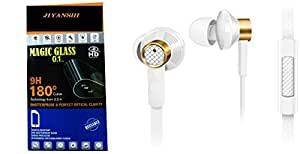 Jiyanshi Combo of Screen Guard / Screen Protector & Earphone With Super Sound White Compatible For Lava X8