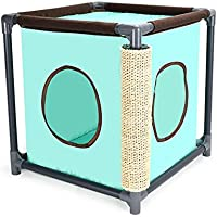Juguete De Gato Play Tower Compact Multi Levels Oxford Paño Con Sisal Scratching Post Travel Tent Green