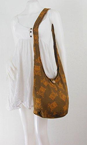 NaLuck Hippie Boho Hibou Vintage Sac à bandoulière Taille M Marron - marron