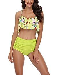 MEMORY BABY Donna Sexy Bikini Costumi a Due Pezzi Con Sovrapposizione a Balze Push up Costume Da Bagno a Vita Alta